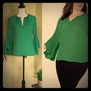I.N.C. Bell Sleeve Clover Patch Blouse
